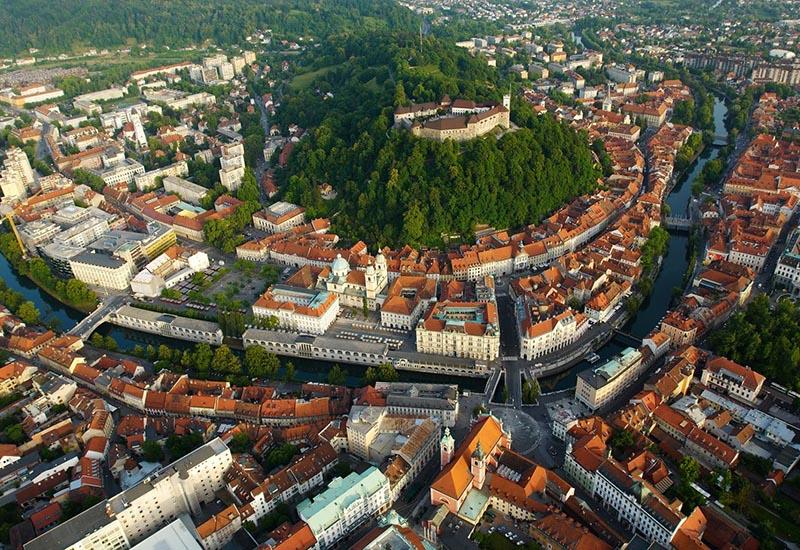 Old city center of Ljubljana with the castle