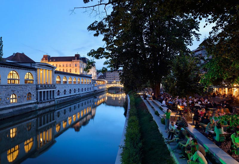 Covered food market on the river bank of Ljubljanica
