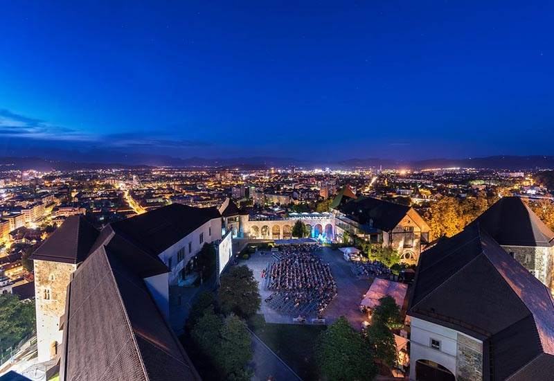 Night view of Ljubljana from the castle