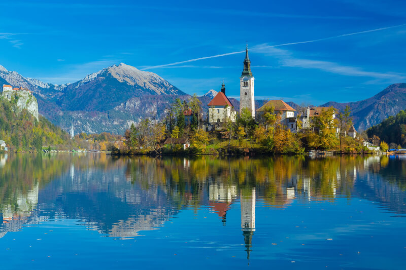 Bled lake and Bled island in Slovenia
